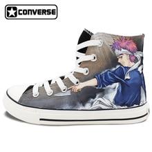 Negro Converse All Star Anime Shokugeki no Soma Diseño Mano pintado Zapatos de Las Mujeres de Los Hombres del Top del Alto de las Zapatillas de deporte Hombre Mujer Cosplay regalos