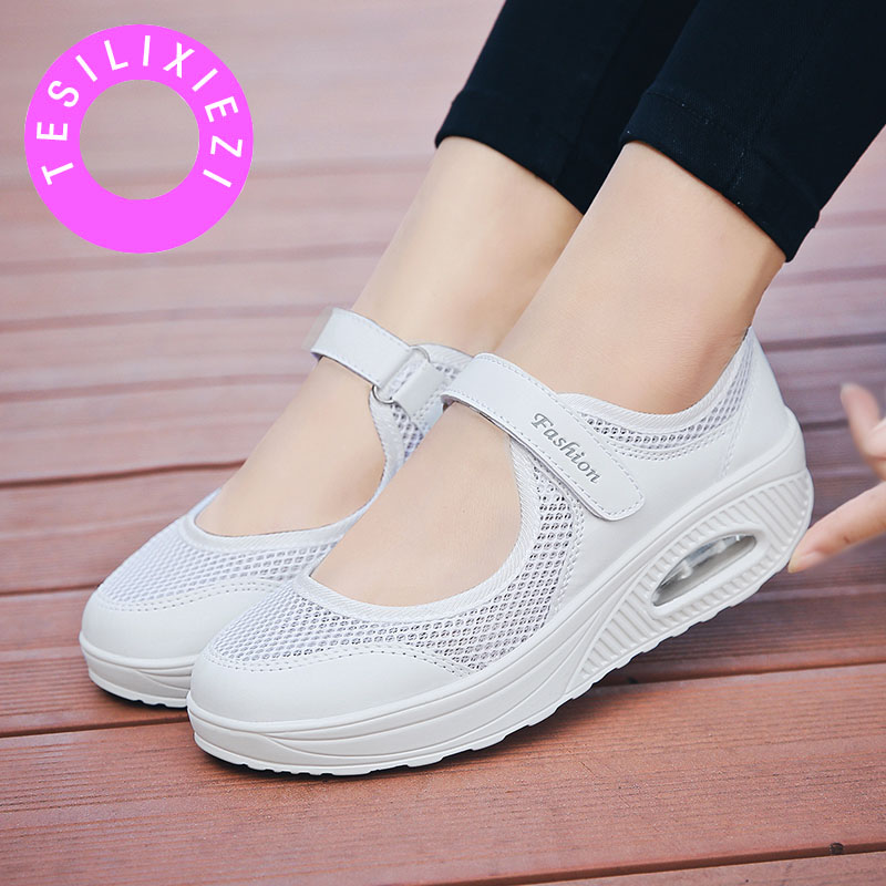 TESILIXIEZI Summer New Fashion Mesh Breathable Lightweight Lose Weight Platform Casual Shoes Woman Healthy Fitness Swing Shoes in Women 39 s Flats from Shoes
