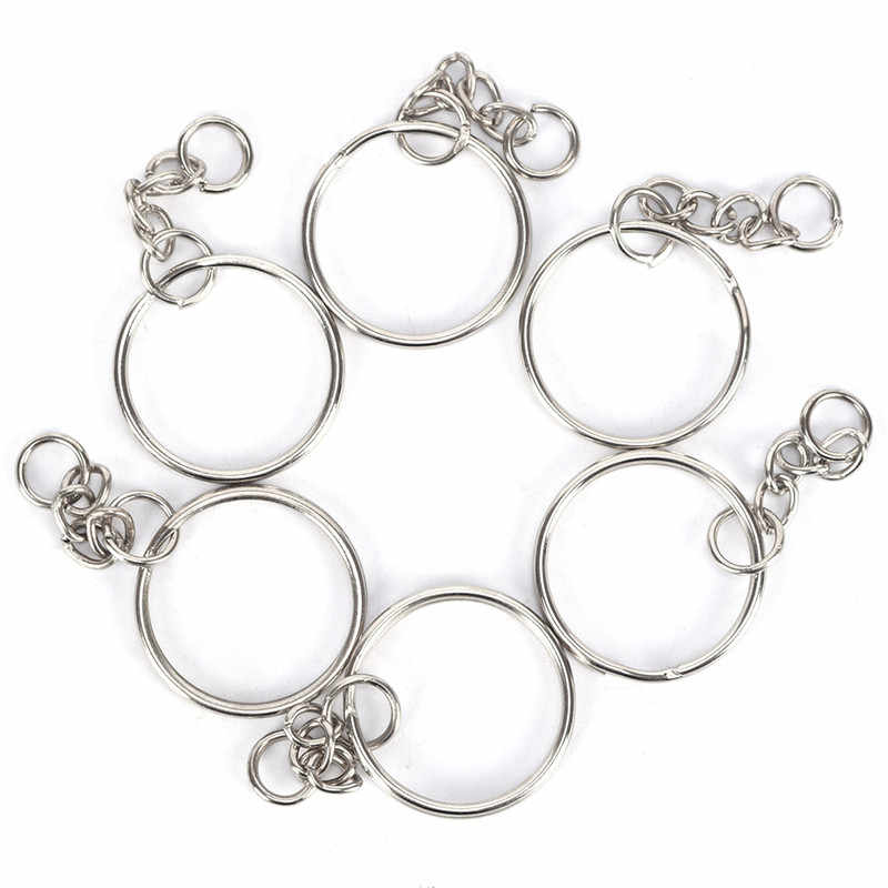 50 pçs polido prata cor 25mm chaveiro anel rachado com curto anéis de corrente feminino masculino diy acessórios