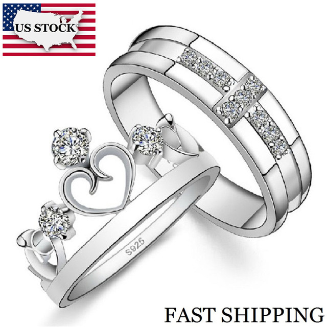 US STOCK 15% Off Wedding Rings for Men and Women Silver Cross Crown Cubic Zirconia Ring Jewelry Couple Rings Uloveido J412