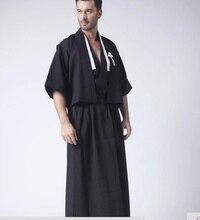 Черный Винтаж японский Для мужчин кимоно хаори традиционной мужской воин юката производительность Хеллоуин костюм Костюмы один размер b-066