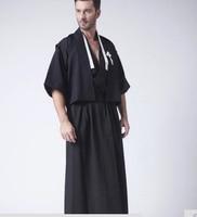 Black Vintage Japanese Men Kimono Haori Traditional Male Warrior Yukata Halloween Costume Performance Clothing One Size