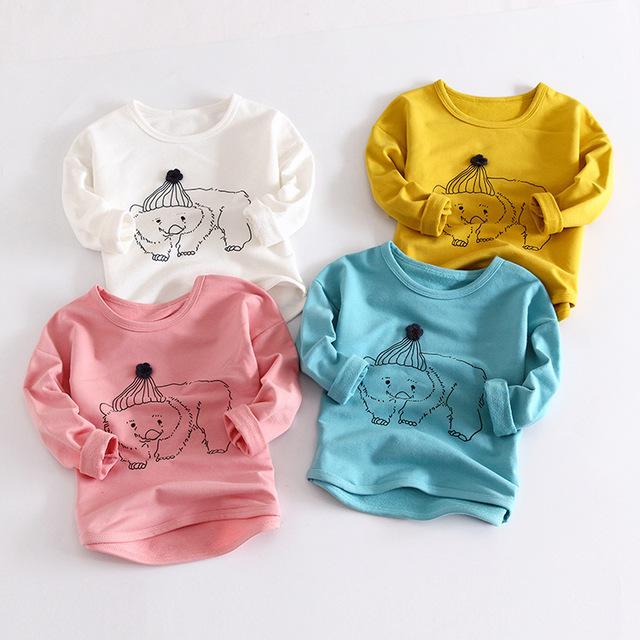Envío gratis primavera otoño moda niños camisetas de dibujos animados oso impreso de manga larga camiseta de los bebés de algodón tops camisetas