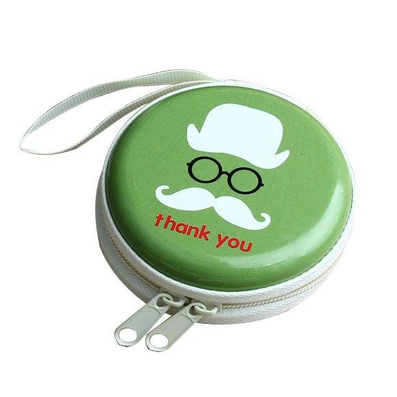 Mini Zipper Earphone Headphone SD Card Bag Box Carrying Pouch Storage Cartoon green
