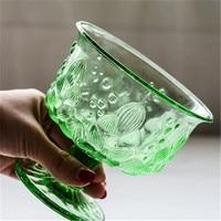 KINGLANG Japanese retro embossed dessert cup salad bowl fruit green glass ice cream milkshake stemware