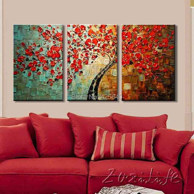 Canvas tree painting 3 pieces Canvas Palette Knife 3D texture ...