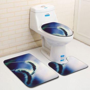T 3pcs 3D Flower Toilet Mat Rose Carpet Bathroom Set Big Size Anti Slip Bath Rugs 50x80 Contour Rug Lid Cover Bath Mat Round Туалет