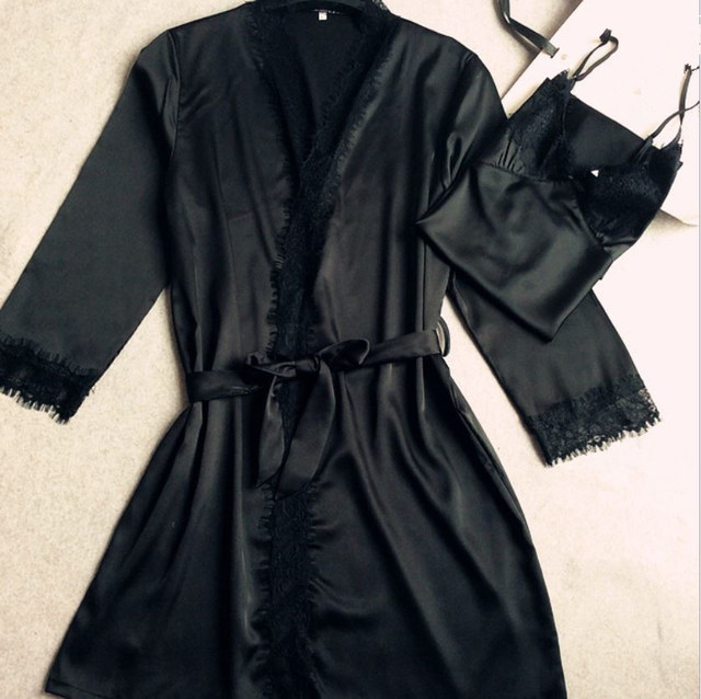 Sell well New Sexy women's silk lace Robe Sets nightwear High quality indoor sleepwear (bathrobe + Spaghetti Strap) two pieces