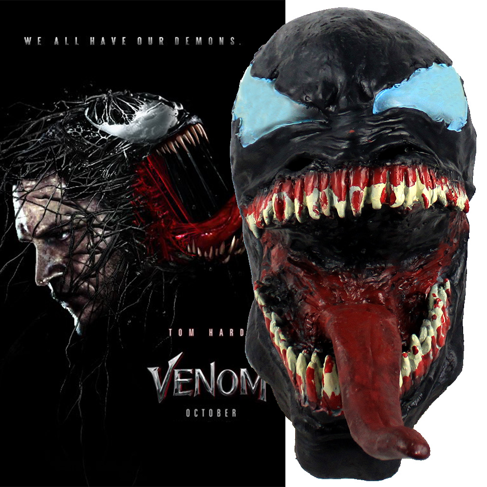 New Movie Venom Deadly Guardian Mask Cosplay Venom Edward Brock Masks 3D Adult Latex Full Face Helmet Halloween Party Props