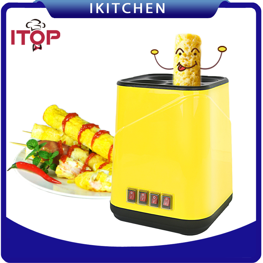 Electric Non-stick Egg Roll Maker Easy Cook Breakfast Sausage Making Machine Yellow 2017 lpg 10 tubes egg sausage maker korean roll maker barbecue pill maker eggs roll sausage machine