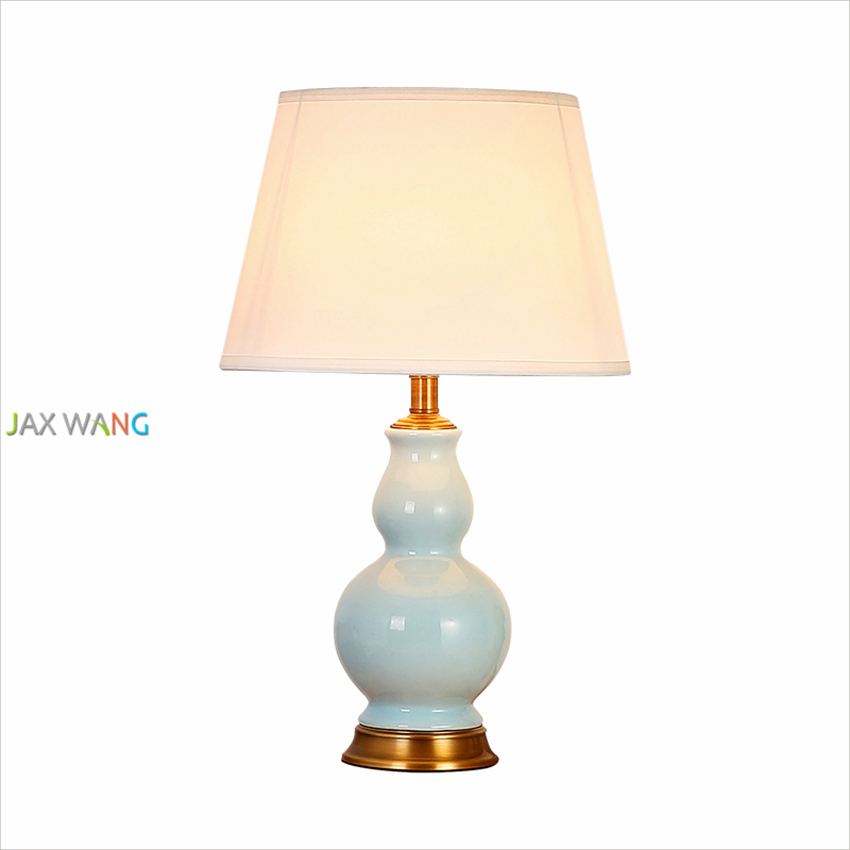 American Living room Ceramic table lamp all copper bedroom bedside lamp classical minimalist decorative gourd big lamp