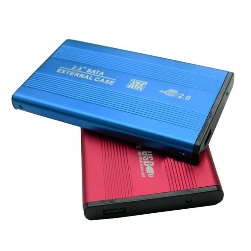 2.5 Inch Slim Portable HDD Enclosure USB 2.0 External Hard Disk Case SATA Hard Disk Drives HDD Case With USB Cable And Pouch New(China)