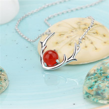 2019 Top Fashion Red Deer Antler Necklace For Women White Gilding Plated Cute female necklaces pendants long necklace  jewelry