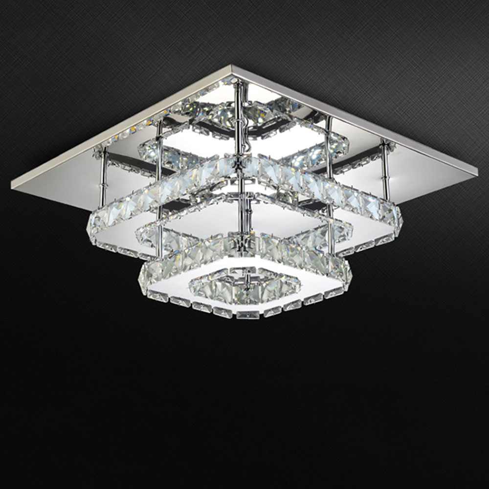 Ac100 240v modern crystal lamp led ceiling light stainless for Modern living room ceiling lights