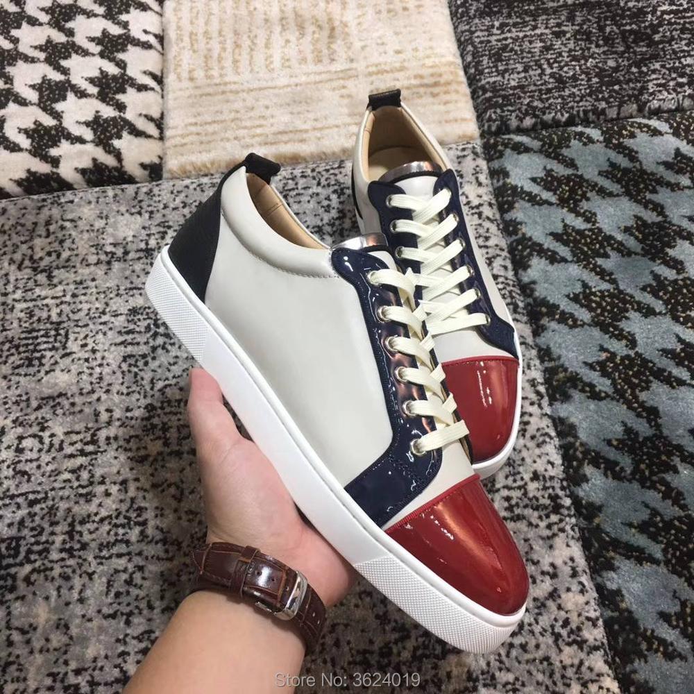 Cut Low Blanc Cl Chaussures Manleather Lace 2018 Sneakers Mocassins Andgz Plat Casual Rouge Pour Up Bas Avec 4ddnxwS
