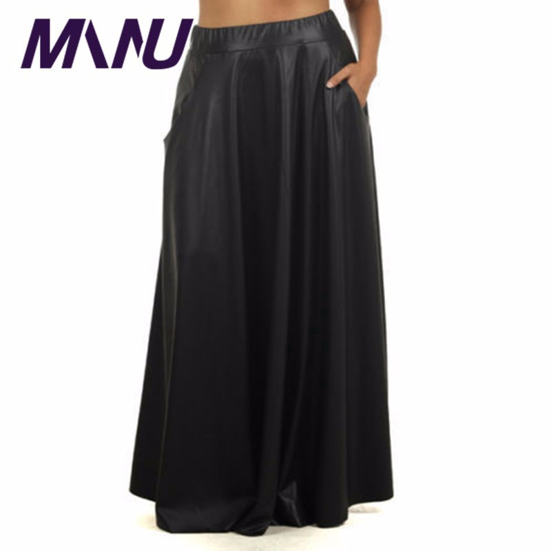 Fashion Brand Designers Faux Leather Pleated Maxi Skirt ...