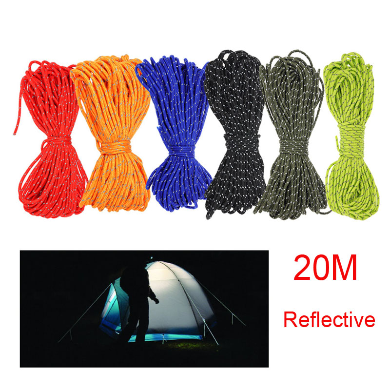 Lixada 20M Reflective Paracord 550 Fishing Camping Rope Awning Cord Tent Wind Rope Fixed Rope Fishing Outdoor Gear Lanyard Corde