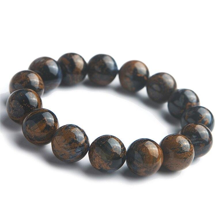 Véritables pierres précieuses naturelles Pietersite pierre cristal extensible puissant Bracelet de perles rondes 15mm