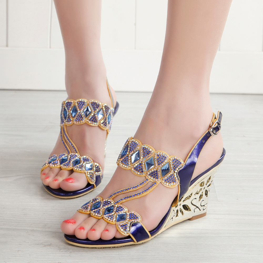 2017 Summer Fashion Sexy Girl Ultra Bright Bowknot Crystal Wedges High Heels Women Sandals Peep Toe Ladies Party Wedding Shoes