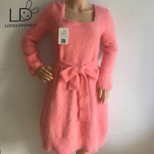 LOVELYDONKEY mink cashmere sweater gown ladies mink  cashmere pullovers knitted gown M600