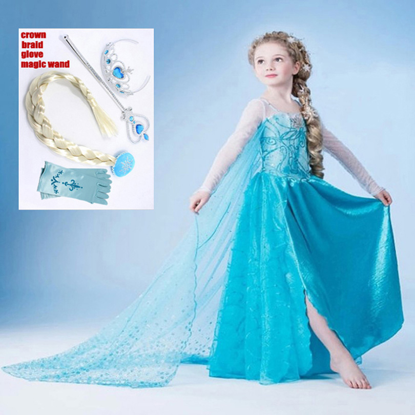 2016new girl dress Elsa Dress Custom Cosplay Summer Anna Girl Dresses Princess Elsa Costume for Children dress free shipping