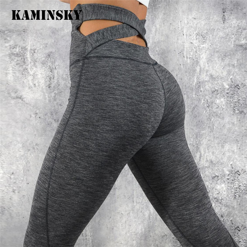 Kaminsky Women   Leggings   Cross High Waist Active Wear Bodybuilding Fitness   Leggings   Female Solid Sportswear Sexy Push Up   Leggings