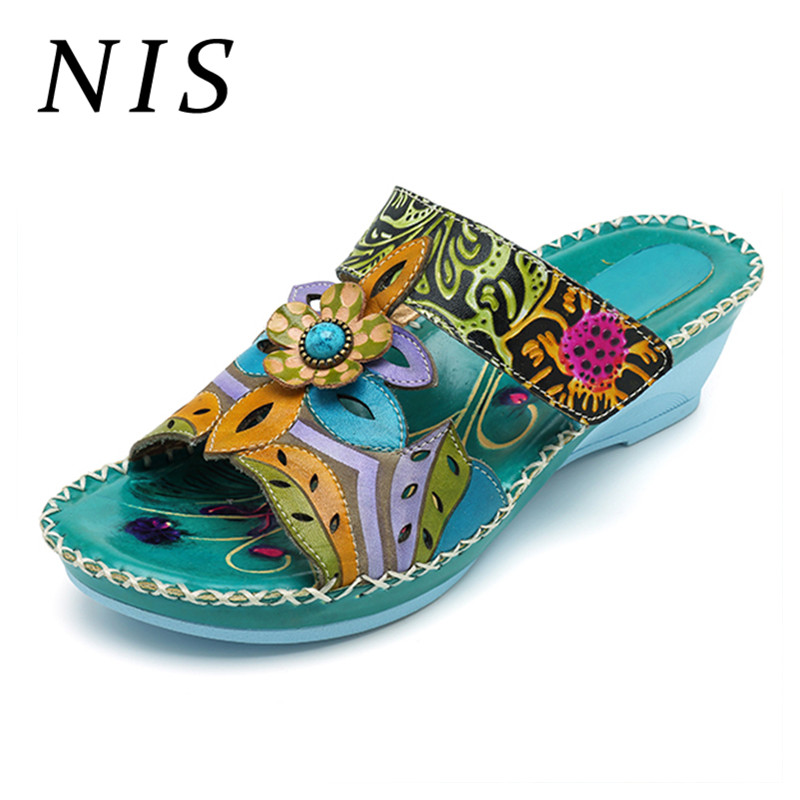 NIS Bohemian Slippers Beach Shoes Woman Wedge Heels Vintage Genuine Leather Slippers Women Shoes Summer Outdoor Slides ZapatosNIS Bohemian Slippers Beach Shoes Woman Wedge Heels Vintage Genuine Leather Slippers Women Shoes Summer Outdoor Slides Zapatos