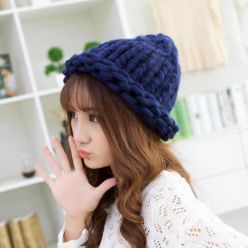 BomHCS Fashion Women Winter Warm Thick Cable HANDDMADE Knit Beanie Hat Solid Color