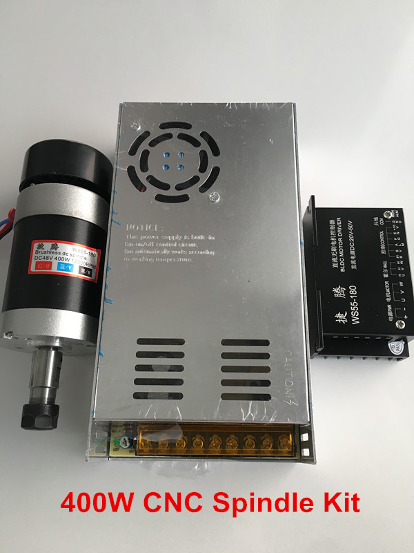 CNC Router Spindle Motor 400W ER11 55MM Machine Tool Spindle + Switching Power Supply + Brushless Stepper Motor Driver цены
