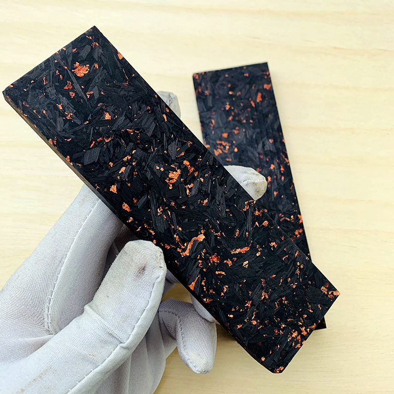 Knife Handle Material Marbled CF Carbon Fiber Black Marble With  Resin, Copper Powder Compression Plate Knife Handle Patch Plate