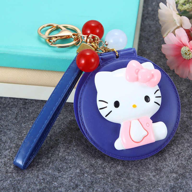 KT Gato dos desenhos animados Olá Kitty Espelho de Maquilhagem Keychain Chave Titular Bolsa Charme Pingente Presente Chaveiros Llavero Carro Mulheres Porte clef