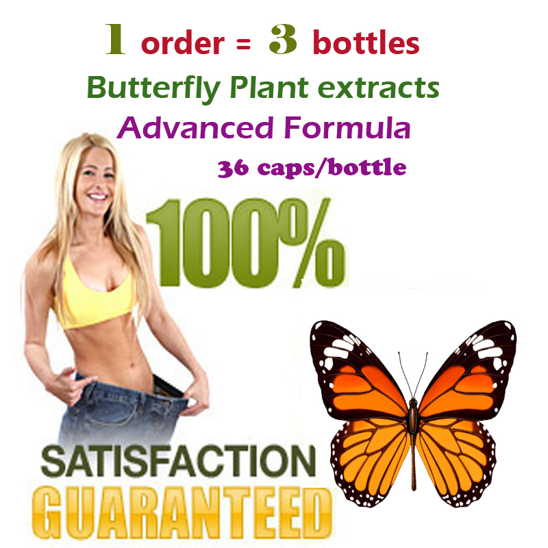 ( 3 bottles) New strong butterfly wild plant botanic extracts fat burning 100% effective advanced slimmming for 108 days supply