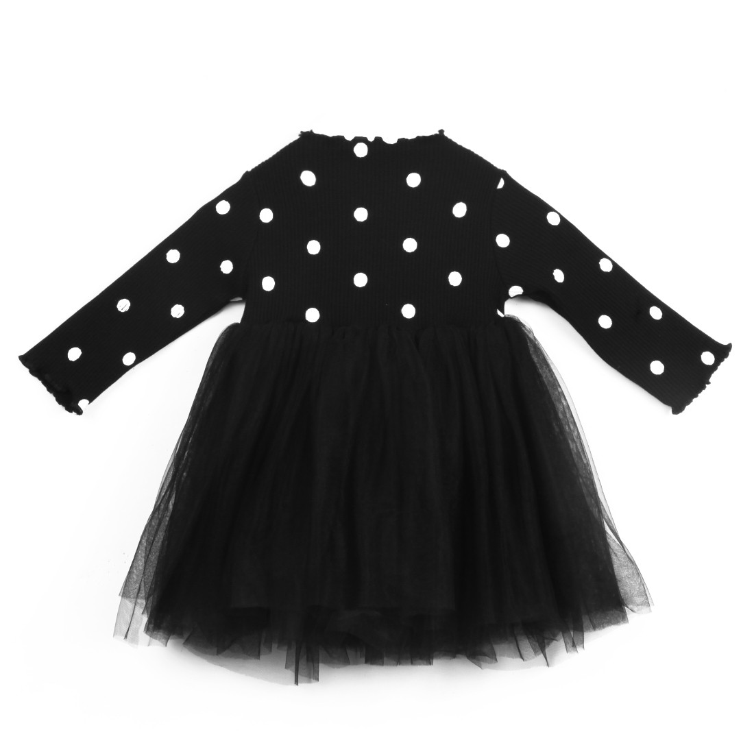 New Newborn Kids Baby Girls Long Sleeve Dresses Knitting Dot Lace Tutu Tulle Dress