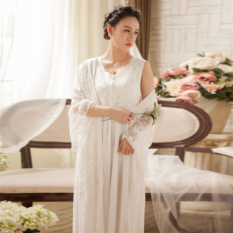 2 Pieces Sleepwear Robe Gown Sets Lace Kimono Transparent Sleeveless Nightgown Nightwear Women Cotton Long Negligee Ladies T182