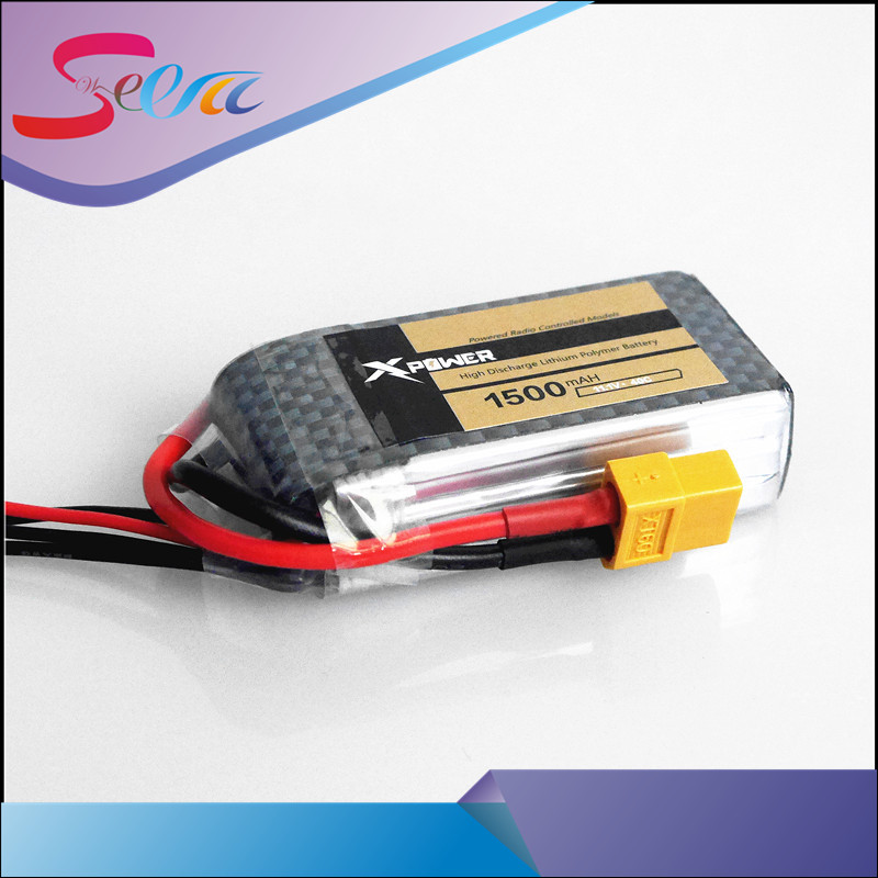 Hot Selling 1pcs Xpower LiPo Battery 11.1V 1500Mah 3S 40C XT60/T Plug For RC Car Airplane WLtoys V950 Helicopter Part