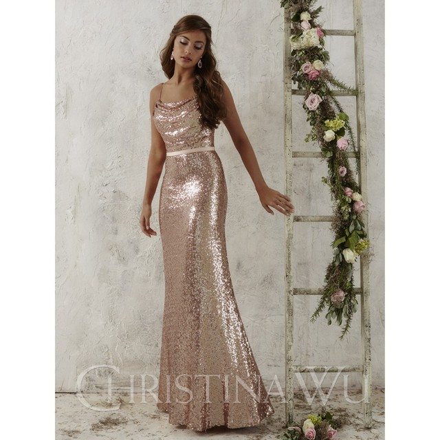 03a2c2fde47 2016 Full Length Rose Gold Sequins Bridesmaid Dresses Christina Wu Style  22706 cowl neckline spaghetti straps Dresses