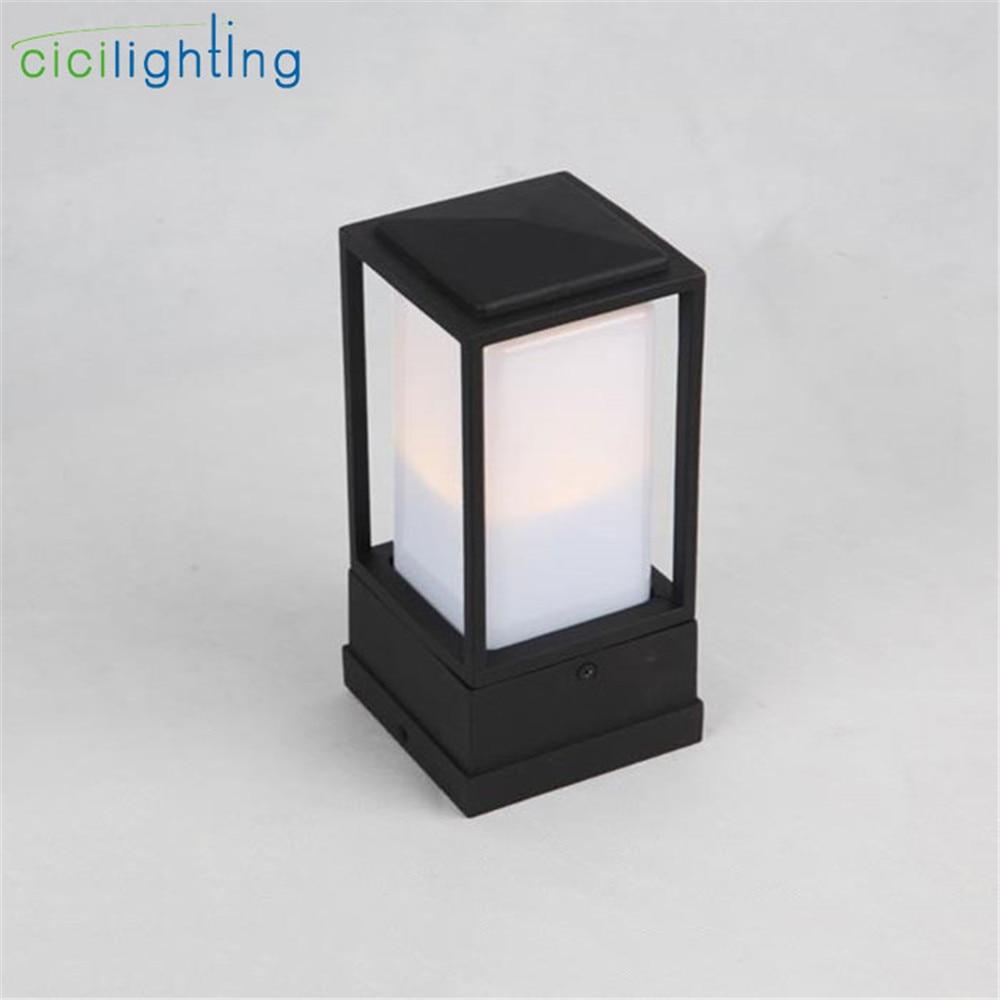 2019 New minimalist outdoor lawn light, black aluminum + white PC shade decor outdoor wall lamp, door post lighting pillar lamp