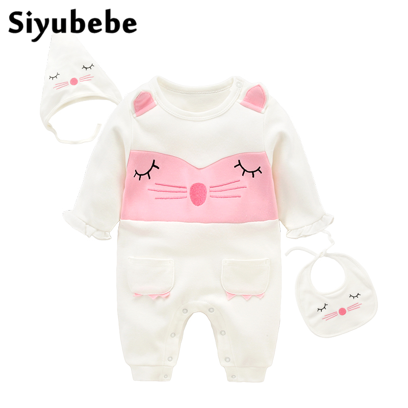 Siyubebe Baby Rompers Set Fashion Brand 3pcs Cotton Long Sleeve Ropa Bebe Infant Girl Jumpsuit Hat Bib Newborn Baby Girl Clothes 100% cotton long sleeve baby rompers 3 pieces lot spring autumn newborn bebe jumpsuit infant boy girl cartoon clothes tops