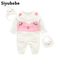 Siyubebe Baby Rompers Set Fashion Brand 3pcs Cotton Long Sleeve Ropa Bebe Infant Girl Jumpsuit Hat