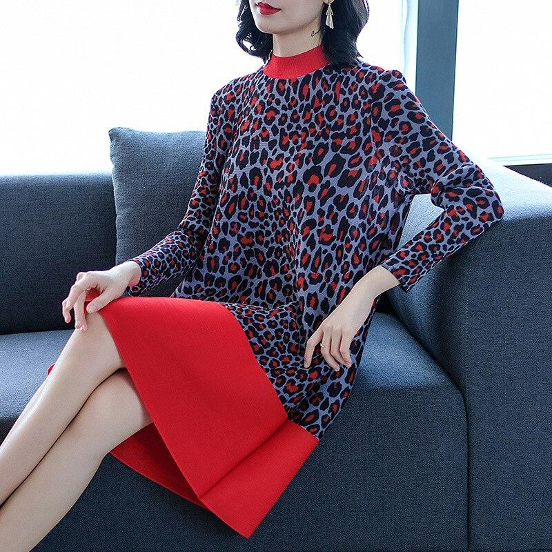MIYAKE printemps robes nouvelle mode femmes robes léopard imprimé épissure lâche taille moyenne longueur robe livraison gratuite