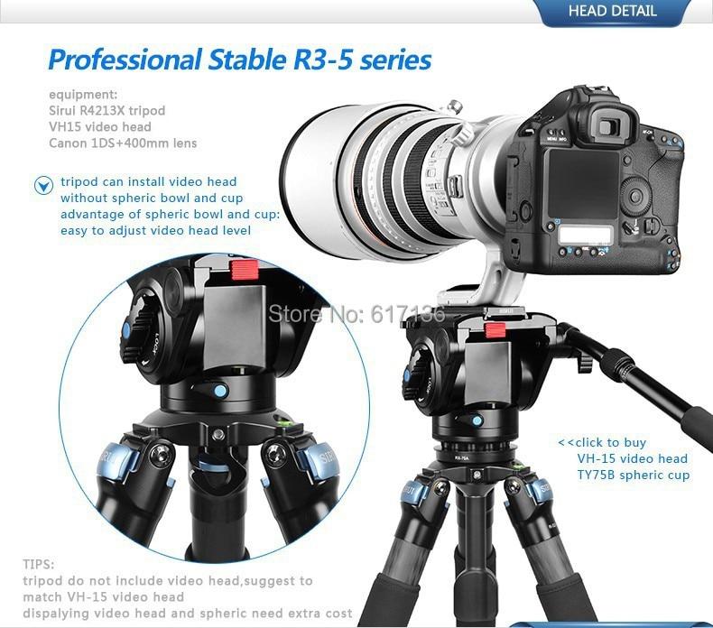 Sirui R-4213X Pro סיבי פחמן יציב וידאו חצובה עבור Canon Nikon Sony SLR מצלמה דיגיטלית מצלמת וידאו על חצובה תיק מקס טוען 25kg