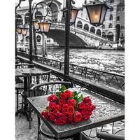 Paris romantique rose peinture de diamant bricolage point de croix aiguille mosaïque diamant broderie artisanat motif rouleau emballage de boîte