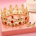 Acessórios do casamento de Noiva Tiara Barroco Do Vintage de Ouro Vermelho de Cristal Strass Pérola Círculo Redondo Coroas Para Rainha do baile de Finalistas Da Noiva