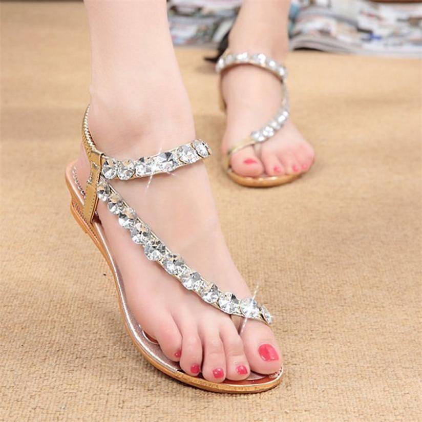 Woman Summer Sandals Rhinestone Flats Platform Wedges Shoes Flip Flops Best Gift Apr19#3 phyanic 2017 gladiator sandals gold silver shoes woman summer platform wedges glitters creepers casual women shoes phy3323