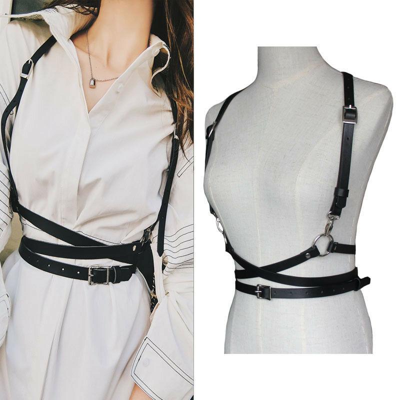Sexy Women Faux Leather Harness Shaper Belts Slim Tight Street Strap Body Casual Tide Adjustable Metal Buckle Waist Belts Femme