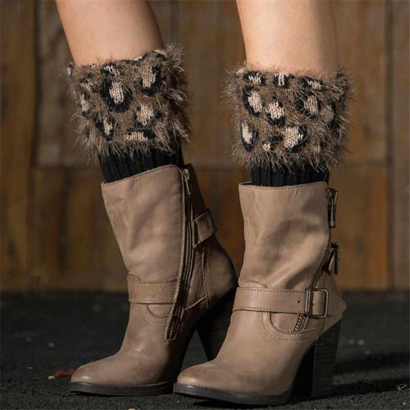 Calentadores de pierna de ganchillo de piel sintética de leopardo calcetines de punto puños de arranque calentadores de invierno polainas de mujer calentadores