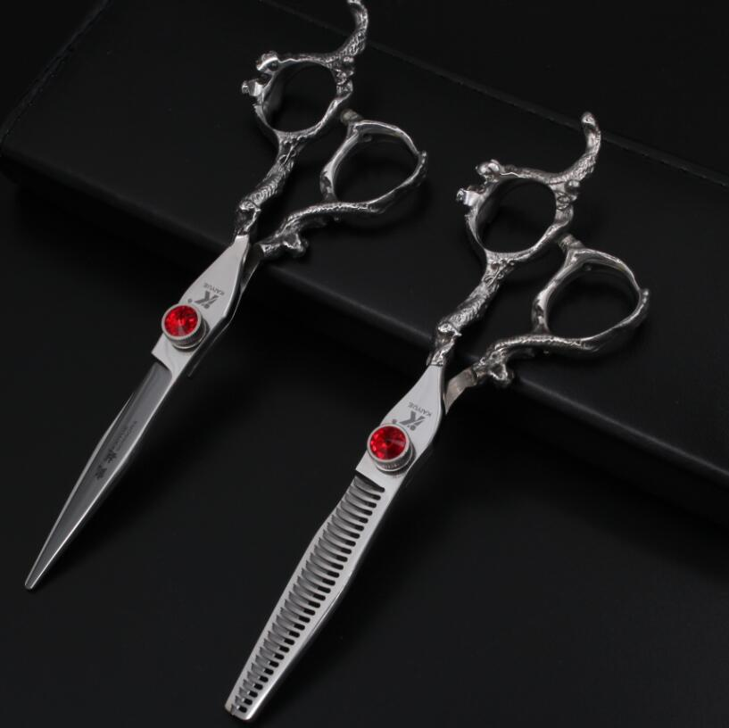 Cutting Scissor + Thinning Scissor 2 Pieces Rubies Inlay Hairdressers Scissors Barber Shears Tijeras Pelo Salon 6 inch