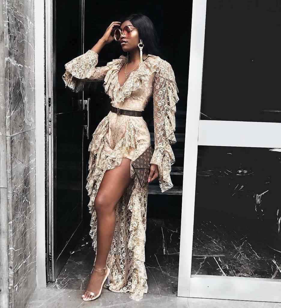 Khaki and Black Color 2018 New Fashion Long Sleeve Open Folk See-through  Jumpsuits Lace cadfbedbb5e7