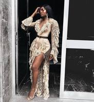 Khaki and Black Color 2018 New Fashion Long Sleeve Open Folk See through Jumpsuits Lace Elegant Celebrity Wear