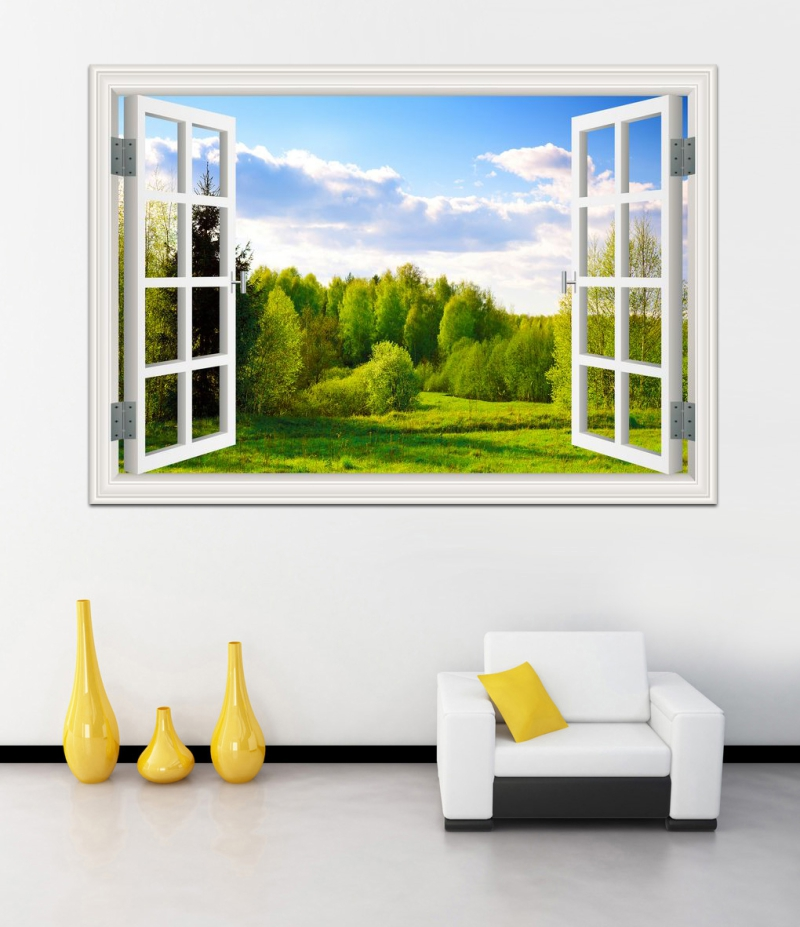 Amazing forest tree landscape 3d wall sticker removable for Jardin decor 37